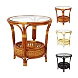 Pelangi Coffee Round Table Handmade ECO Natural Rattan Wicker with Glass Top, Colonial (Color: Colonial (Light Brown))