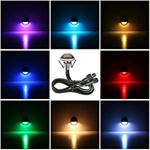 FVTLED Pack of 10 Multi-color Low Voltage LED Deck lights kit F1.38 Outdoor Garden Yard Decoration Lamp Recessed Landscape Pathway Step Stair RGB LED Lighting, Bronze (Color: RGB, Tamaño: 10pcs)