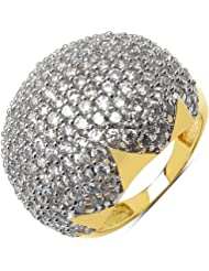5.83 Grams White Cubic Zirconia Gold Plated Brass Ring