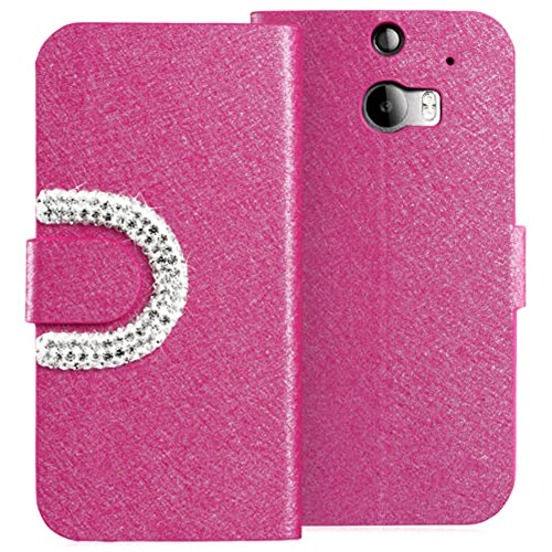 Mylife Deep Pink {Diamond And Textured Design} Faux Leather (Card, Cash And Id Holder + Magnetic Closing) Slim Wallet For The All-New Htc One M8 Android Smartphone - Aka, 2Nd Gen Htc One (External Textured Synthetic Leather With Magnetic Clip + Internal S