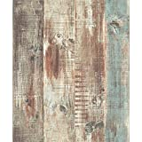 Blooming Wall Vintage Wood Panel Wood Plank Wallpaper Rolls Wall Paper Wall Mural For Livingroom Bedroom Kitchen Bathroom, 20.8 In32.8 Ft=57 Sq.ft, Multicolor