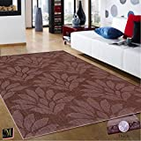 Espresso Living Room Contemporary Modern Wool Area Rug, Handcrafted Floral 5' by 7-Feet
