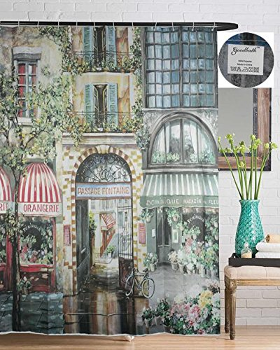 Goodbath Mildew-Free Water-Repellent Polyester Shower Curtain 72 Inch by 72 Inch, City Garden 2