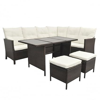 SSITG Poly Rattan Gartenmöbel Gartenset 8 Personen Lounge Sitzgruppe Gartengarnitur schwarz