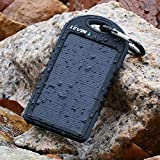 Levin™ Solstar Solar Panel Charger 6000mAh Rain/Dirt/Shockproof Dual USB Port Portable Charger Backup External Battery Power Pack for iPhone 5S 5C 5 4S 4, iPad Air, Other iPads, iPods(Apple Adapters not Included), Samsung Galaxy S5 S4, S3, S2, Note 3, Note 2, Most Kinds of Android Smart Phones and Tablets, Windows phone,Gopro Camera and More Other Devices(buy the authentic Branded items and turn down the knockoffs) (Pure Black)