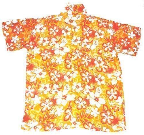 Happy Hawaiian Hut - Kinder Hemd Hawaii Blumen Motiv Jungen Mädchen - L 7-8 Jahre, Orange