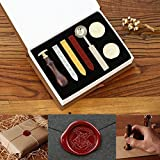 Powstro Stamp Seal Sealing Wax kit, Retro Classic Vintage Seal Wax Stamp Seal Maker Stick Gift Box Set (Hogwarts) (Color: Hogwarts)
