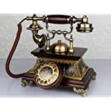 Two-Stand telephone antique, European Retro / solid wood / New / skin / Old telephone Lounge aircraft 27x22x26cm mobile phone ( Color:# 2 .