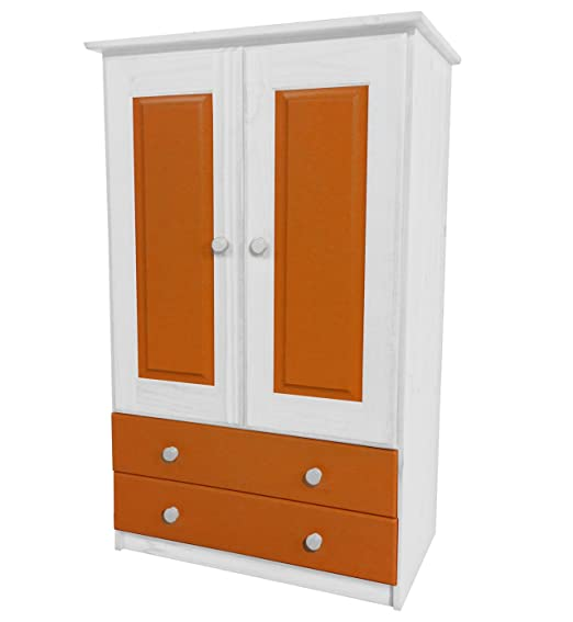 Design Vicenza Two Door Tall Boy Robe With Two Drawers Children's Short Wardrobe in White & Orange