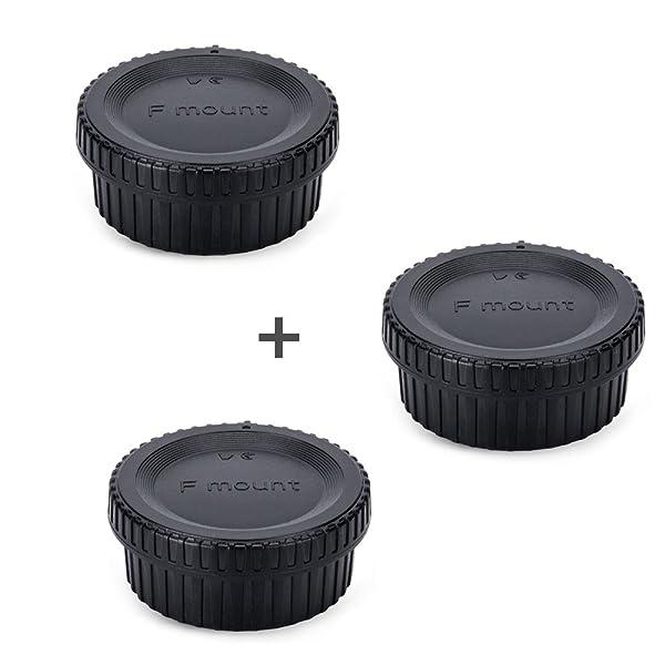 JJC Rear Lens Cap & Body Cap Cover JJC for Nikon F Mount D3500 D3400 D3300 D3200 D3100 D7500 D7200 D7100 D5600 D5500 D5300 D5200 D5100 D850 D810A D810 D800 D750 D500 D40 D5 D4s D4,etc -3 Pack (Color: 3 Pack)