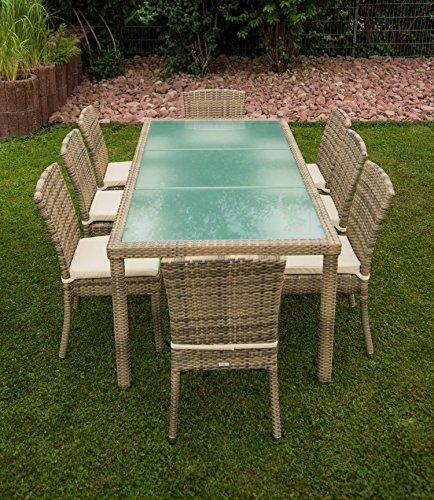 17tlg. Premium Rattan Sitzgruppe Garnitur Garten Möbel Tisch + Stuhl Elfenbein