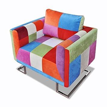 vidaXL Patchwork Stuhl +Chromfußen Sessel Relaxsessel Armlehnstuhl