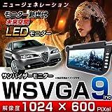 WSVGA 9インチサンバイザーモニター ★左右2個セット 【カラー:ブラック】