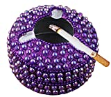 Handmade Beaded Purple Round Ashtray with 3 Cigarette Slots - Ashtray for Home Patio Outdoor Use