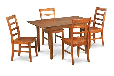 East West Furniture MLPF5-SBR-W 5-Piece Kitchen Nook Dining Table Set