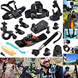 EEEKit 12-in-1 Outdoor Sports Essentials Kit for GoPro Hero4 Silver Black Hero 4 3+ 3 2 Sony Action Video Camera HDR-AS30V HDR-AS100VR in Parachuting Swimming rowing Surfing Skiing Climbing Running Bike riding Camping Diving outing any other outdoor sports, Head Belt Strap Mount + Chest Belt Strap Mount + Extendable Handle Monopod + Car Suction Cup Mount Holder + Floating Handle Grip + 2 PCS Tripod Mount Adapter + 2 PCS Gopro Surface J-Hook + 360 Rotary Clip Mount + Bike Handlebar Mount holder + 360 Degree Rotating Adjustable Wrist Mount + EEEKit Pouch