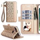 iPhone7 Plus ケース アイフォン7プラス ケース,WWW®[RFIDブロッキング] [透かし彫りの花 デザイン] 良質PUレザーケース 横開き 手帳型 カード入れ ストラップ付き 化粧鏡 スタンド機能 マグネット開閉 ゴールド