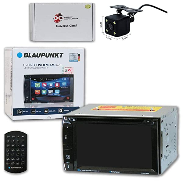 Blaupunkt Car Audio Double DIn 2DIN 6.2 Touchscreen DVD MP3 CD Stereo Bluetooth + Remote with DiscountCentralOnline SQC09 Waterproof Nightvision Back-up Camera (Tamaño: SQC09 Square camera)