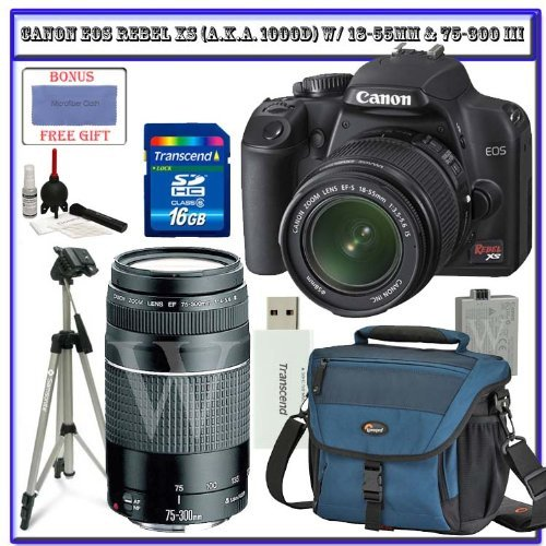 Canon EOS Rebel XS (a.k.a. 1000D) SLR Digital Camera Kit (Black) W/ 18-55mm IS Lens & Canon 75-300mm III Lens + Lowepro Digital Gadget Bag + Spare LP-E5 Battery + 58mm UV Filter + Transcend 16GB SDHC Card + Willoughby's Accessory Bundle Big Discount