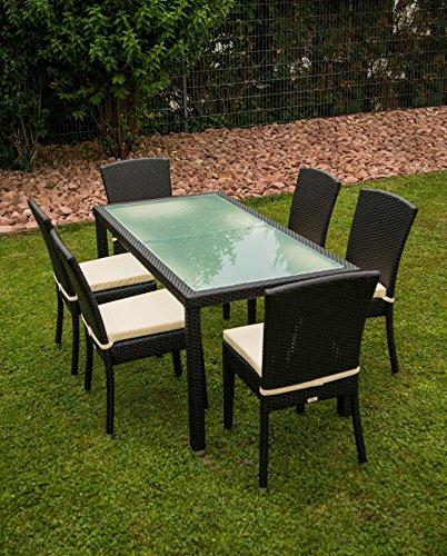 KONWAY & NÖSINGER 13tlg. Premium Rattan Sitzgruppe Garnitur Garten Möbel Tisch + Stuhl Schwarz