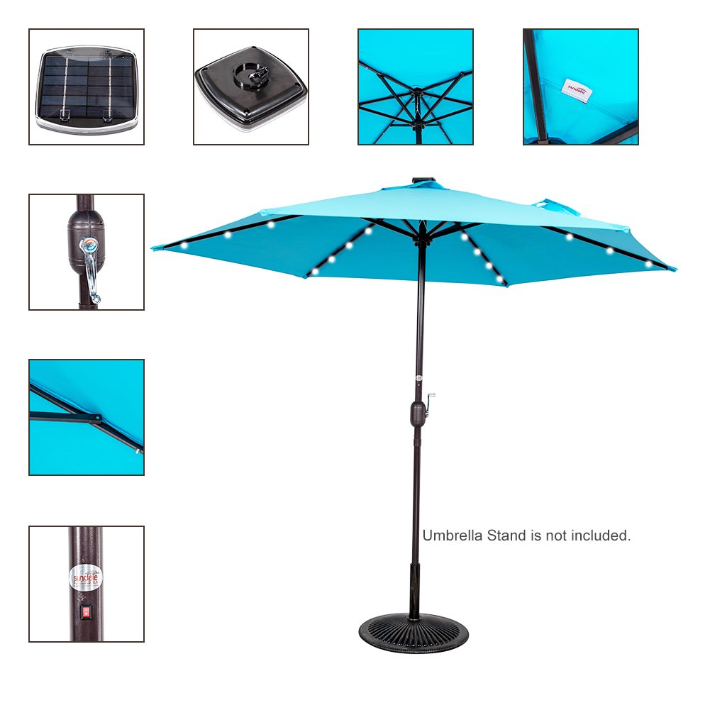 Blue Led Umbrella: Sundale Outdoor 9ft 24 Led Light Outdoor Market Patio