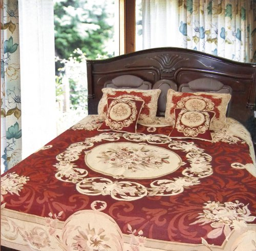 Dada Bedding 12Jpg 5-Piece Elegant Chenille Woven Floral Medallion Bedspread, Queen, Red back-1077520