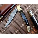 """DKC-62 BLACK PRINCE Damascus Folding Laguiole Pocket Knife 4.5"""" Folded 8"""" Long 2.3oz oz High Class Looks Incredible Feels Great In Your Hand And Pocket Hand Made DKC Knives TM"""