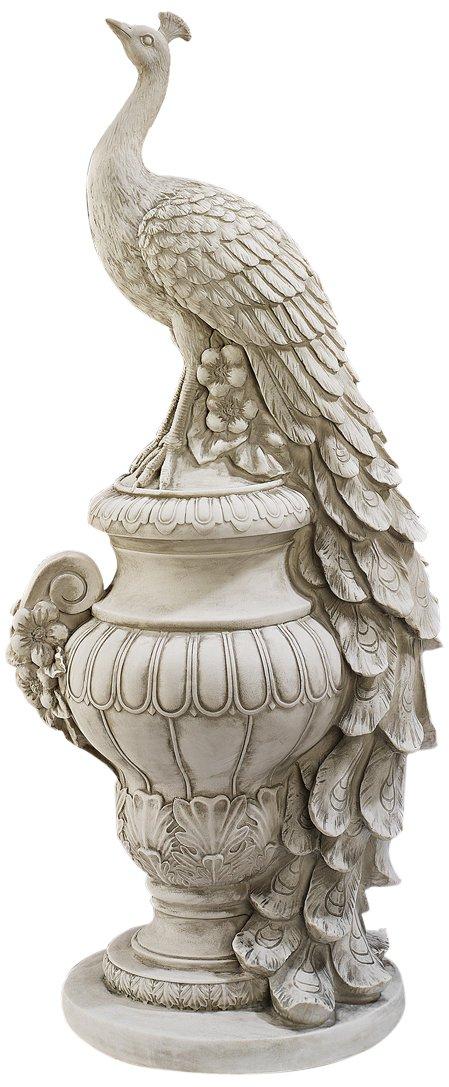 Design Toscano KY1876 Staverden Castle Peacock On An Urn Garden Statue,  Antique Stone