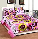 Soni Traders Pink Rangoli Design Pure Cotton Double Bedsheet With Pillow Cover- Bedsheet- 90 Inches X 90 Inches; Pillow Cover- 16 Inches X 27 Inches