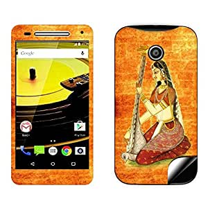 Skintice Designer Mobile Skin Sticker for Motorola Moto E2, Design - Rajasthani Painting