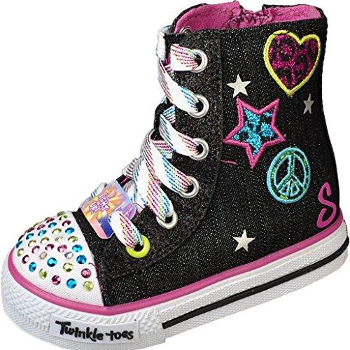 Skechers Infant/Toddler Girls' Twinkle Toes Shuffles Megastar,Black/Multi,Us 8 M front-381645