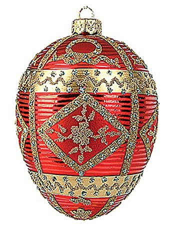 Faberge Inspired Red Commemorative Egg Easter Ornament