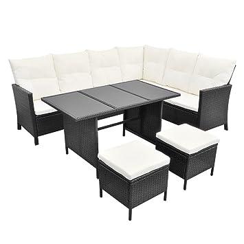 vidaXL Set de mueble poli ratán para jardín, 8 personas, Negro