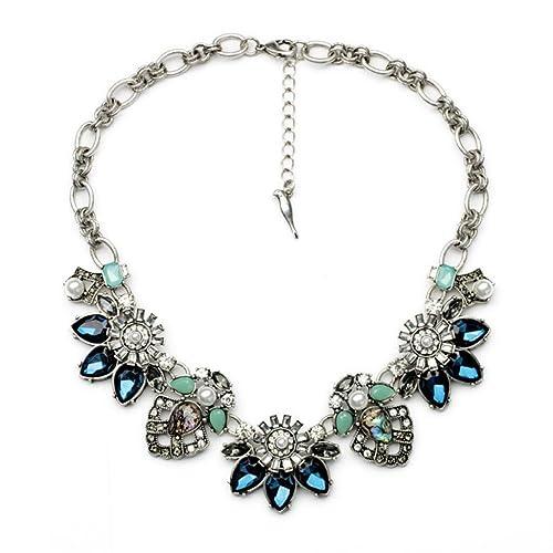 Fit&Wit Rhinestone Crystal Reasin Statement Fashion Necklace: Jewelry