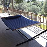 Airblasters NEW Hammock Quilted Fabric with Pillow Double Size Spreader Bar Heavy Duty(Blue)