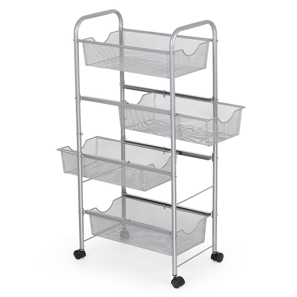 NEX Storage Cart Organizer with Drawers Basket Wheels Durable Mesh Wire Rolling Cart for Home Kitchen Bathroom Laundry Storage
