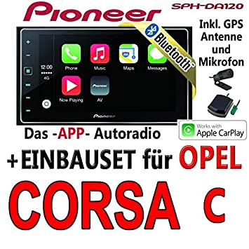 Opel Corsa C schwarz - Pioneer SPH-DA120 - 2DIN USB Bluetooth Apple CarPlay Autoradio - Einbauset