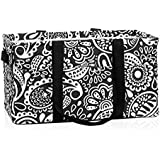 Thirty One Deluxe Utility Tote in Black Playful Parade - 4441 - No Monogram