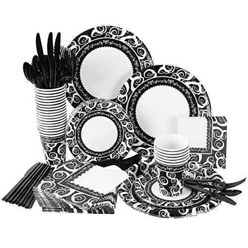241 Piece Disposable Dinnerware Set - Paper plates Cups Napkins Cutlery Elegant  sc 1 st  Kitchen Gear : paper plates cups napkins - pezcame.com