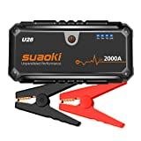 Suaoki U28 2000A Peak Jump Starter Pack (for ALL Gas or 8.0L Diesel Engines) with USB Power Bank, LED Flashlight and Smart Battery Clamps for 12V Car & Boat