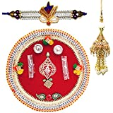 Handcrafted Ganesha Design Steel Pooja Thali Gift With Single Fancy Rakhi & Designer Lumba For Bhabhi For Rakhi Rakshabandhan - B073RKG25G