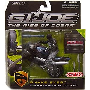 G.I. Joe: The Rise of Cobra Exclusive M.A.R.S. Troopers Action Figure Snake Eyes with Arashikage Cycle