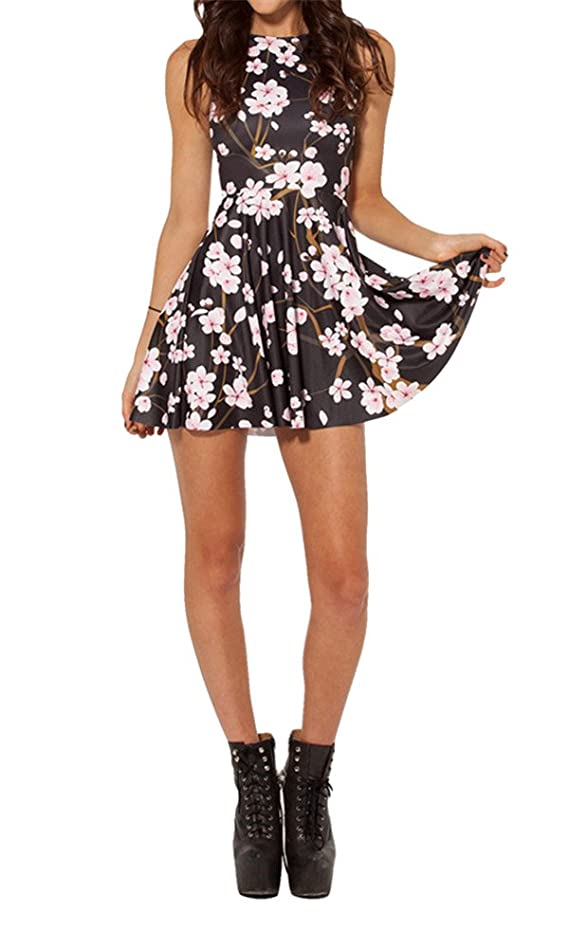 MicaCool Summer Pleated Print Cherry Blossom Reversible Skater Dress