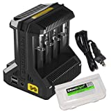 NITECORE i8 Eight Bays Smart Battery Charger for Li-ion/IMR/Ni-MH/Ni-Cd 26650 22650 18650 18490 18350 16340 RCR123 14500 AA AAA AAAA C D USB with EdisonBright BBX3 Battery Carry case