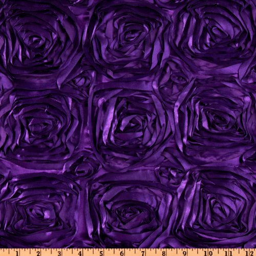 58'' Wide Splenda Satin Ribbon Rosette Plum Fabric By The Yard