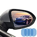 Car Rearview Mirror Film,4PCS HD Anti-fog Waterproof Soft Protective Film Universal Car Bus Screen Protector, Anti-glare,Anti-scratch,Rainproof,Rear View Mirror Window Clear Nano Film (clear) (Color: clear)