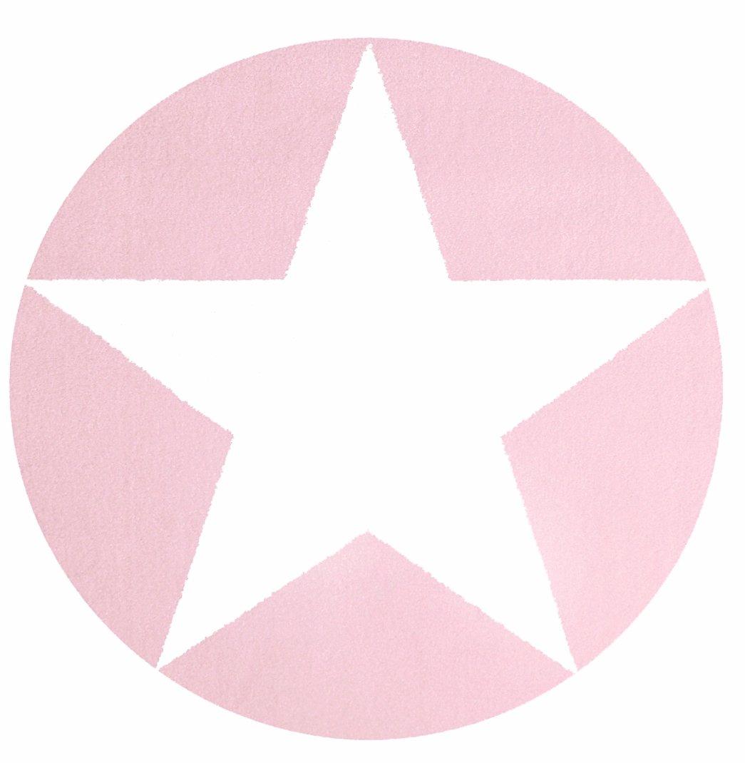 Kinderteppich Happy Rugs STAR rosa/weiß 160cm rund