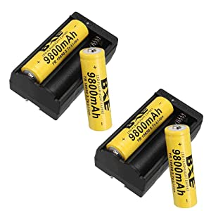 BXE 18650 Rechargeable Batteries(Button Top),4 Packs 9800mAh 3.7V Li-ion Batteries for Led Flashlight Headlamp + 2 Packs Smart Chargers (Color: Yellow)