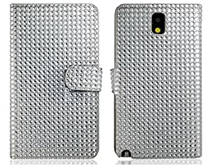 Crystal Decorated Faux Leather Flip Case for Samsung Galaxy Note 3 N9000 N9002 (Silver)