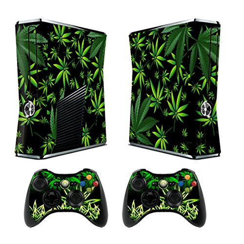 Skin for Xbox 360 Sticker Decals for X360 Custom Cover Skins for Xbox360 Slim Modded Console Game Accessories Set Decal Stickers with 2 Wireless Remote Controllers - Weeds Black by GameXcel ® (Xbox 360 Skylanders Controller compare prices)